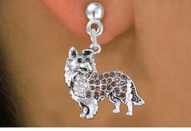 <BR>  WHOLESALE DOG FASHION EARRINGS <bR>                 EXCLUSIVELY OURS!! <Br>            AN ALLAN ROBIN DESIGN!! <BR>      LEAD, NICKEL & CADMIUM FREE!! <BR>  W1564SE - ANTIQUED SILVER TONE CLEAR <BR>AND TOPAZ CRYSTAL COLLIE DOG CHARM <BR>    EARRINGS FROM $5.40 TO $10.45 �2014