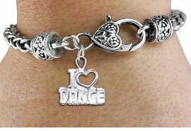 "<bR>    WHOLESALE FASHION CHARM BRACELET <BR>                     EXCLUSIVELY OURS!! <BR>                AN ALLAN ROBIN DESIGN!! <BR>          CADMIUM, LEAD & NICKEL FREE!! <BR>        W1565SB - DETAILED 3D SILVER TONE <BR>""I LOVE DANCE"" OPEN HEART CHARM & HEART <BR> CLASP BRACELET FROM $4.40 TO $9.20 �2014"