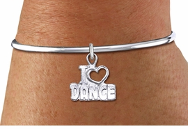 "<bR>    WHOLESALE FASHION CHARM BRACELET <BR>                     EXCLUSIVELY OURS!! <BR>                AN ALLAN ROBIN DESIGN!! <BR>          CADMIUM, LEAD & NICKEL FREE!! <BR>        W1565SB - DETAILED 3D SILVER TONE <BR>""I LOVE DANCE"" OPEN HEART CHARM & SOLID WIRE <BR>      BRACELET FROM $4.40 TO $9.20 �2014"