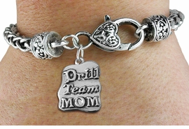 "<bR>    WHOLESALE FASHION CHARM BRACELET <BR>                     EXCLUSIVELY OURS!! <BR>                AN ALLAN ROBIN DESIGN!! <BR>          CADMIUM, LEAD & NICKEL FREE!! <BR>        W1570SB - DETAILED 3D SILVER TONE <BR>""DRILL TEAM MOM"" CHARM & HEART <BR> CLASP BRACELET FROM $4.40 TO $9.20 �2014"