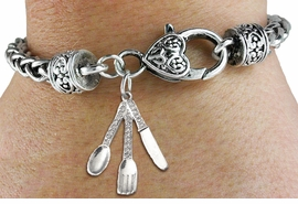 <BR>  WHOLESALE SILVERWARE FASHION JEWELRY <bR>                   EXCLUSIVELY OURS!! <Br>              AN ALLAN ROBIN DESIGN!! <BR>        LEAD, NICKEL & CADMIUM FREE!! <BR>   W1571SB - ANTIQUED SILVER TONE CLEAR <BR>CRYSTAL SPOON, FORK, AND KNIFE CHARM <BR>      ON HEART LOBSTER CLASP BRACELET <Br>        FROM $5.98 TO $12.85 �2014