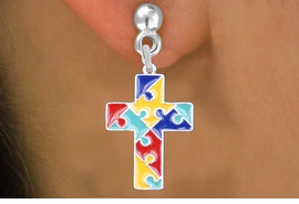 "<br>     WHOLESALE AUTISM CHARM EARRINGS <bR>                 EXCLUSIVELY OURS!! <BR>            AN ALLAN ROBIN DESIGN!! <BR>   ""Lord Protect Me And Keep Me Safe""<BR>         CADMIUM, LEAD & NICKEL FREE!! <BR>    W1572SE - 2-SIDED SILVER TONE AUTISM <Br>COLOR PUZZLE CROSS CHARM EARRINGS <BR>          FROM $3.65 TO $8.40 �2014"