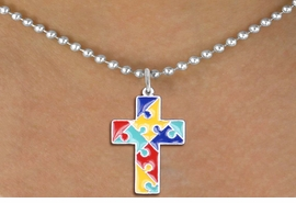 "<br>      WHOLESALE FASHION AUTISM JEWELRY <bR>                   EXCLUSIVELY OURS!! <BR>            AN ALLAN ROBIN DESIGN!! <BR>     ""Lord Protect Me And Keep Me Safe""<BR>        CADMIUM, LEAD & NICKEL FREE!! <BR>   W1572SN - 2-SIDED SILVER TONE AUTISM <BR> COLOR PUZZLE CROSS CHARM & NECKLACE <BR>             FROM $6.10 TO $9.85 �2014"
