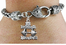 "<bR>    WHOLESALE SPORTS CHARM BRACELET <BR>                     EXCLUSIVELY OURS!! <BR>                AN ALLAN ROBIN DESIGN!! <BR>          CADMIUM, LEAD & NICKEL FREE!! <BR>W1573SB - 3D SILVER TONE ""IF I BELIEVE IT,<BR> I CAN DO IT!"" WEIGHTLIFTING CHARM & HEART<BR>CLASP BRACELET FROM $4.40 TO $9.20 �2014"
