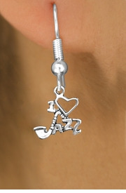 "<br>WHOLESALE MUSIC & DANCE CHARM EARRINGS <bR>                 EXCLUSIVELY OURS!! <BR>            AN ALLAN ROBIN DESIGN!! <BR>      CADMIUM, LEAD & NICKEL FREE!! <BR>W1574SE - DETAILED SILVER TONE <Br>""I LOVE JAZZ"" CHARM EARRINGS <BR>          FROM $3.65 TO $8.40 �2014"