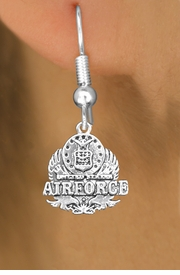 <br>WHOLESALE ARMED FORCES CHARM EARRINGS <bR>                 EXCLUSIVELY OURS!! <BR>            AN ALLAN ROBIN DESIGN!! <BR>      CADMIUM, LEAD & NICKEL FREE!! <BR>W1575SE - DETAILED SILVER TONE <Br>U.S. AIRFORCE INSIGNIA CHARM EARRINGS <BR>          FROM $3.65 TO $8.40 �2014