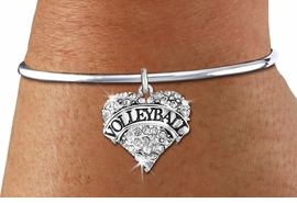 "<BR>                VOLLEYBALL HEART JEWELRY <bR>                        EXCLUSIVELY OURS!! <Br>                   AN ALLAN ROBIN DESIGN!! <BR>             LEAD, NICKEL & CADMIUM FREE!! <BR>        W1580SB - ANTIQUED SILVER TONE AND <BR>     CLEAR CRYSTAL ""VOLLEYBALL"" HEART CHARM <BR>        BRACELET FROM $5.40 TO $9.85 �2014<BR>PICTURED ABOVE ""REMOVABLE SCREW BALL END"""