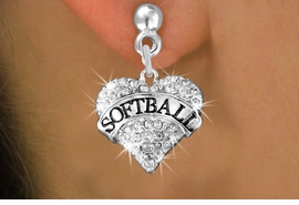 "<BR>     WHOLESALE FASHION HEART JEWELRY <bR>                   EXCLUSIVELY OURS!! <Br>              AN ALLAN ROBIN DESIGN!! <BR>        LEAD, NICKEL & CADMIUM FREE!! <BR>   W1582SE - ANTIQUED SILVER TONE AND <BR>CLEAR CRYSTAL ""SOFTBALL"" HEART CHARM <BR>POST EARRING FROM $5.40 TO $9.35 �2014"