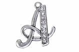"W1592-A-SC CRYSTAL SCRIPT ""A"" CHARM <BR><FONT size=""2"">Buy 1-2 for $4.25 Each<br>Buy 3-5 for $4.15 Each<br>Buy 6-11 for $3.65 Each<br>Buy 12-23 for $3.45 Each<br>Buy 24-49 for $3.25 Each<br>Buy 50 or More for $3.09 Each</font>"