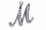 "W1592-M-SC CRYSTAL SCRIPT ""M"" CHARM <BR><FONT size=""2"">Buy 1-2 for $4.25 Each<br>Buy 3-5 for $4.15 Each<br>Buy 6-11 for $3.65 Each<br>Buy 12-23 for $3.45 Each<br>Buy 24-49 for $3.25 Each<br>Buy 50 or More for $3.09 Each</font>"