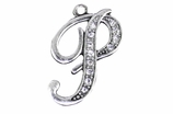 "W1592-P-SC CRYSTAL SCRIPT ""P"" CHARM <BR><FONT size=""2"">Buy 1-2 for $4.25 Each<br>Buy 3-5 for $4.15 Each<br>Buy 6-11 for $3.65 Each<br>Buy 12-23 for $3.45 Each<br>Buy 24-49 for $3.25 Each<br>Buy 50 or More for $3.09 Each</font>"
