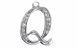 "W1592-Q-SC CRYSTAL SCRIPT ""Q"" CHARM <BR><FONT size=""2"">Buy 1-2 for $4.25 Each<br>Buy 3-5 for $4.15 Each<br>Buy 6-11 for $3.65 Each<br>Buy 12-23 for $3.45 Each<br>Buy 24-49 for $3.25 Each<br>Buy 50 or More for $3.09 Each</font>"