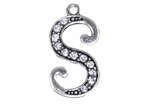"W1592-S-SC CRYSTAL SCRIPT ""S"" CHARM <BR><FONT size=""2"">Buy 1-2 for $4.25 Each<br>Buy 3-5 for $4.15 Each<br>Buy 6-11 for $3.65 Each<br>Buy 12-23 for $3.45 Each<br>Buy 24-49 for $3.25 Each<br>Buy 50 or More for $3.09 Each</font>"