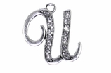 "W1592-U-SC CRYSTAL SCRIPT ""U"" CHARM <BR><FONT size=""2"">Buy 1-2 for $4.25 Each<br>Buy 3-5 for $4.15 Each<br>Buy 6-11 for $3.65 Each<br>Buy 12-23 for $3.45 Each<br>Buy 24-49 for $3.25 Each<br>Buy 50 or More for $3.09 Each</font>"