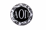 "W1642SC - ALPHA OMICRON PI BLACK AND WHITE FLORAL DISK CHARM<BR><FONT size=""2"">Buy 1-2 for $6.25 Each<br>Buy 3-5 for $5.63 Each<br>Buy 6-11 for $3.75 Each<br>Buy 12-23 for $3.56 Each<br>Buy 24-49 for $3.31 Each<br>Buy 50 or More for $2.94 Each</font>"