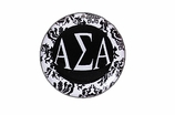 "W1643SC - ALPHA SIGMA ALPHA BLACK AND WHITE FLORAL DISK CHARM<BR><FONT size=""2"">Buy 1-2 for $6.25 Each<br>Buy 3-5 for $5.63 Each<br>Buy 6-11 for $3.75 Each<br>Buy 12-23 for $3.56 Each<br>Buy 24-49 for $3.31 Each<br>Buy 50 or More for $2.94 Each</font>"