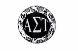 "W1644SC - ALPHA SIGMA TAU BLACK AND WHITE FLORAL DISK CHARM<BR><FONT size=""2"">Buy 1-2 for $6.25 Each<br>Buy 3-5 for $5.63 Each<br>Buy 6-11 for $3.75 Each<br>Buy 12-23 for $3.56 Each<br>Buy 24-49 for $3.31 Each<br>Buy 50 or More for $2.94 Each</font>"