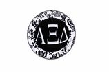 """W1645SC - ALPHA XI DELTA BLACK AND WHITE FLORAL DISK CHARM<BR><FONT size=""""2"""">Buy 1-2 for $6.25 Each<br>Buy 3-5 for $5.63 Each<br>Buy 6-11 for $3.75 Each<br>Buy 12-23 for $3.56 Each<br>Buy 24-49 for $3.31 Each<br>Buy 50 or More for $2.94 Each</font>"""