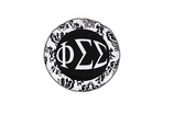 "W1654SC - PHI SIGMA SIGMA BLACK AND WHITE FLORAL DISK CHARM<BR><FONT size=""2"">Buy 1-2 for $6.25 Each<br>Buy 3-5 for $5.63 Each<br>Buy 6-11 for $3.75 Each<br>Buy 12-23 for $3.56 Each<br>Buy 24-49 for $3.31 Each<br>Buy 50 or More for $2.94 Each</font>"