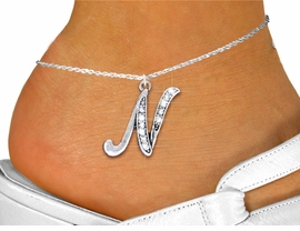 <BR>   NICKEL FREE & ADJUSTABLE ANKLET !<BR>               PERSONALIZED JEWELRY <bR>                 EXCLUSIVELY OURS!! <Br>            AN ALLAN ROBIN DESIGN!! <BR>               LEAD & NICKEL FREE!! <BR>W1668SAK - CRYSTAL ALPHABET INITIAL <Br>   CHARM ANKLET FROM $3.35 TO $8.00