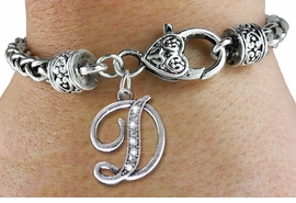 <BR>                            NICKEL FREE !<br>       PERSONALIZED INITIAL BRACELET <bR>                  EXCLUSIVELY OURS!! <Br>             AN ALLAN ROBIN DESIGN!! <BR>    CLICK HERE TO SEE 1000+ EXCITING <BR>          CHANGES THAT YOU CAN MAKE! <BR>                LEAD & NICKEL FREE!! <BR>   W1668SB - SILVER TONE AND CRYSTAL  <BR>SCRIPT ALPHABET INITIAL CHARM ON HEART-SHAPED <Br>LOBSTER CLASP BRACELET FROM $4.50 TO $10.00