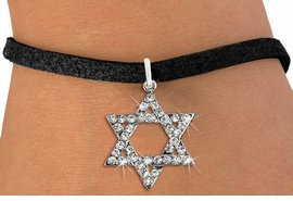 <BR>  WHOLESALE FASHION RELIGIOUS JEWELRY  <bR>                   EXCLUSIVELY OURS!!  <Br>              AN ALLAN ROBIN DESIGN!!  <BR>        LEAD, NICKEL & CADMIUM FREE!!  <BR>W1670SB - SILVER TONE & CLEAR CRYSTAL <BR>HEBREW / JEWISH STAR OF DAVID CHARM ON <BR>BLACK SUEDE BRACELET FROM $5.40 TO $9.85 �2015