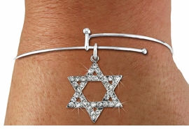 <BR>  WHOLESALE FASHION RELIGIOUS JEWELRY  <bR>                   EXCLUSIVELY OURS!!  <Br>              AN ALLAN ROBIN DESIGN!!  <BR>        LEAD, NICKEL & CADMIUM FREE!!  <BR>W1670SB - SILVER TONE & CLEAR CRYSTAL <BR>HEBREW / JEWISH STAR OF DAVID CHARM ON <BR>   ADJUSTABLE THIN SOLID WIRE BRACELET  <Br>         FROM $5.98 TO $12.85 �2015