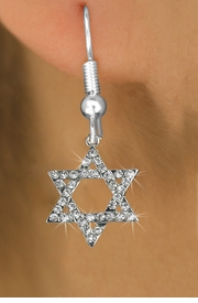 <BR> WHOLESALE FASHION RELIGIOUS EARRINGS  <bR>                   EXCLUSIVELY OURS!!  <Br>              AN ALLAN ROBIN DESIGN!!  <BR>        LEAD, NICKEL & CADMIUM FREE!!  <BR>W1670SE - SILVER TONE & CLEAR CRYSTAL  <BR>HEBREW / JEWISH STAR OF DAVID CHARM ON <BR>    SURGICAL STEEL FISHHOOK EARRINGS  <BR>          FROM $5.40 TO $10.45 �2015
