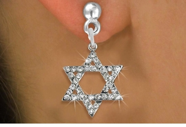 Lead Nickel Cadmium Free W1670se Silver Tone Clear Crystal Hebrew Jewish Star Of David Charm On Surgical Steel Post Style Earrings