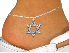 <bR>    WHOLESALE FASHION RELIGIOUS JEWELRY  <BR>                     EXCLUSIVELY OURS!!  <BR>                AN ALLAN ROBIN DESIGN!!  <BR>          LEAD, NICKEL & CADMIUM FREE!!  <BR>   W1670SAK - SILVER TONE CLEAR CRYSTAL <BR>    HEBREW / JEWISH STAR OF DAVID CHARM  <Br>   AND ANKLET FROM $4.70 TO $9.85 �2015