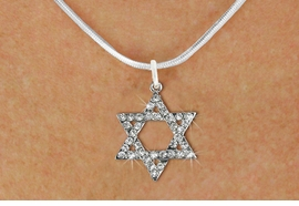<BR>    WHOLESALE FASHION RELIGIOUS JEWELRY  <bR>                     EXCLUSIVELY OURS!!  <Br>                AN ALLAN ROBIN DESIGN!!  <BR>          LEAD, NICKEL & CADMIUM FREE!!  <BR>  W1670SN - SILVER TONE & CLEAR CRYSTAL <BR> HEBREW / JEWISH STAR OF DAVID CHARM ON <BR>     LOBSTER CLASP SNAKE CHAIN NECKLACE  <BR>              FROM $5.40 TO $9.85 �2015