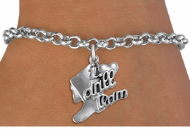"<br>      WHOLESALE FASHION CHARM BRACELET  <bR>                    EXCLUSIVELY OURS!!  <BR>               AN ALLAN ROBIN DESIGN!!  <BR>         CADMIUM, LEAD & NICKEL FREE!!  <BR>     W1671SB - DETAILED 3D SILVER TONE  <Br>""I LOVE DRILL TEAM"" BOOT & HEART CHARM  <BR> ON SILVER TONE LOBSTER CLASP BRACELET <BR>             FROM $4.50 TO $8.35 �2015"