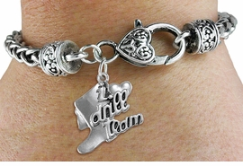 "<bR>      WHOLESALE FASHION CHARM BRACELET  <BR>                     EXCLUSIVELY OURS!!  <BR>                AN ALLAN ROBIN DESIGN!!  <BR>          CADMIUM, LEAD & NICKEL FREE!!  <BR>      W1671SB - DETAILED 3D SILVER TONE  <BR> ""I LOVE DRILL TEAM"" BOOT & HEART CHARM  <BR> ON HEART SHAPED LOBSTER CLASP BRACELET  <BR>             FROM $4.40 TO $9.20 �2015"