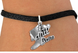 "<br>      WHOLESALE FASHION CHARM BRACELET  <bR>                    EXCLUSIVELY OURS!!  <BR>               AN ALLAN ROBIN DESIGN!!  <BR>         CADMIUM, LEAD & NICKEL FREE!!  <BR>     W1671SB - DETAILED 3D SILVER TONE  <Br>""I LOVE DRILL TEAM"" BOOT & HEART CHARM  <BR>   ON BLACK SUEDE LEATHERETTE BRACELET <BR>             FROM $4.50 TO $8.35 �2015"