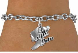 "<br>      WHOLESALE FASHION CHARM BRACELET  <bR>                    EXCLUSIVELY OURS!!  <BR>               AN ALLAN ROBIN DESIGN!!  <BR>         CADMIUM, LEAD & NICKEL FREE!!  <BR>     W1671SB - DETAILED 3D SILVER TONE  <Br>""I LOVE DRILL TEAM"" BOOT & HEART CHARM  <BR>   ON TOGGLE CLASP CHAIN LINK BRACELET <BR>             FROM $4.50 TO $8.35 �2015"