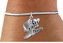 "<bR>      WHOLESALE FASHION CHARM BRACELET  <BR>                     EXCLUSIVELY OURS!!  <BR>                AN ALLAN ROBIN DESIGN!!  <BR>          CADMIUM, LEAD & NICKEL FREE!!  <BR>      W1671SB - DETAILED 3D SILVER TONE  <BR> ""I LOVE DRILL TEAM"" BOOT & HEART CHARM  <BR>    ON SILVER TONE SNAKE CHAIN BRACELET  <BR>             FROM $4.40 TO $9.20 �2015"