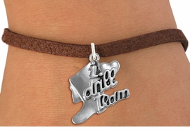 "<br>      WHOLESALE FASHION CHARM BRACELET  <bR>                    EXCLUSIVELY OURS!!  <BR>               AN ALLAN ROBIN DESIGN!!  <BR>         CADMIUM, LEAD & NICKEL FREE!!  <BR>     W1671SB - DETAILED 3D SILVER TONE  <Br>""I LOVE DRILL TEAM"" BOOT & HEART CHARM  <BR>   ON BROWN SUEDE LEATHERETTE BRACELET <BR>             FROM $4.50 TO $8.35 �2015"