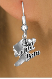 "<br>     WHOLESALE DANCE CHARM EARRINGS  <bR>                 EXCLUSIVELY OURS!!  <BR>            AN ALLAN ROBIN DESIGN!!  <BR>      CADMIUM, LEAD & NICKEL FREE!!  <BR>    W1671SE - DETAILED SILVER TONE  <Br>""I LOVE DRILL TEAM"" BOOT & HEART CHARM <BR>   SURGICAL STEEL FISHHOOK EARRINGS  <BR>          FROM $3.65 TO $8.40 �2015"