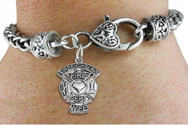 "<BR>  WHOLESALE FIRE DEPT BRACELET JEWELRY <bR>                EXCLUSIVELY OURS!! <Br>           AN ALLAN ROBIN DESIGN!! <BR>     LEAD, NICKEL & CADMIUM FREE!! <BR> W1672SB1 - DETAILED SILVER TONE FIRE DEPT <BR>SHIELD WITH ""FIREFIGHTER'S WIFE"" CHARM <BR>   ON HEART LOBSTER CLASP BRACELET <Br>     FROM $5.63 TO $12.50 �2015"