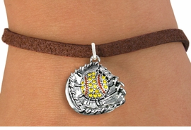 <BR>    WHOLESALE FASHION SOFTBALL JEWELRY  <bR>                    EXCLUSIVELY OURS!!  <Br>               AN ALLAN ROBIN DESIGN!!  <BR>      CLICK HERE TO SEE 1000+ EXCITING  <BR>            CHANGES THAT YOU CAN MAKE!  <BR>         LEAD, NICKEL & CADMIUM FREE!!  <BR>   W1713SB4 - ANTIQUED SILVER TONE AND  <BR>YELLOW CRYSTAL SOFTBALL GLOVE AND BALL  <BR> CHARM ON BROWN SUEDE LEATHER BRACELET  <BR>             FROM $5.40 TO $9.85 �2015