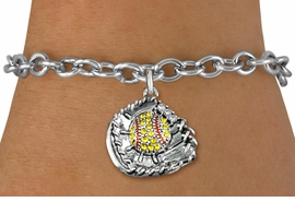 <BR>    WHOLESALE FASHION SOFTBALL JEWELRY  <bR>                    EXCLUSIVELY OURS!!  <Br>               AN ALLAN ROBIN DESIGN!!  <BR>      CLICK HERE TO SEE 1000+ EXCITING  <BR>            CHANGES THAT YOU CAN MAKE!  <BR>         LEAD, NICKEL & CADMIUM FREE!!  <BR>   W1713SB5 - ANTIQUED SILVER TONE AND  <BR>YELLOW CRYSTAL SOFTBALL GLOVE AND BALL  <BR>  CHARM ON TOGGLE CLASP CHAIN BRACELET  <BR>             FROM $5.40 TO $9.85 �2015