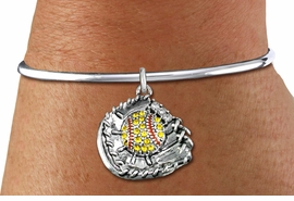 <BR>    WHOLESALE FASHION SOFTBALL JEWELRY  <bR>                    EXCLUSIVELY OURS!!  <Br>               AN ALLAN ROBIN DESIGN!!  <BR>         LEAD, NICKEL & CADMIUM FREE!!  <BR>   W1713SB8 - ANTIQUED SILVER TONE AND  <BR>YELLOW CRYSTAL SOFTBALL GLOVE AND BALL  <BR>     CHARM ON OPEN CUFF STYLE BRACELET  <Br>            FROM $5.98 TO $12.85 �2015