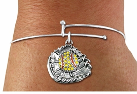 <BR>    WHOLESALE FASHION SOFTBALL JEWELRY  <bR>                    EXCLUSIVELY OURS!!  <Br>               AN ALLAN ROBIN DESIGN!!  <BR>         LEAD, NICKEL & CADMIUM FREE!!  <BR>   W1713SB9 - ANTIQUED SILVER TONE AND  <BR>YELLOW CRYSTAL SOFTBALL GLOVE AND BALL  <BR>CHARM ON ADJUSTABLE SOLID WIRE BRACELET  <Br>            FROM $5.98 TO $12.85 �2015