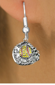 <BR>      WHOLESALE SOFTBALL FASHION EARRINGS  <bR>                       EXCLUSIVELY OURS!!  <Br>                  AN ALLAN ROBIN DESIGN!!  <BR>            LEAD, NICKEL & CADMIUM FREE!!  <BR>      W1713SE1 - ANTIQUED SILVER TONE AND  <BR>  YELLOW CRYSTAL SOFTBALL GLOVE WITH BALL  <BR>CHARM ON SURGICAL STEEL FISHHOOK EARRINGS <BR>               FROM $5.40 TO $10.45 �2015