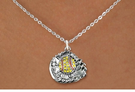 <BR>   WHOLESALE SOFTBALL NECKLACE JEWELRY  <bR>                    EXCLUSIVELY OURS!!  <Br>               AN ALLAN ROBIN DESIGN!!  <BR>      CLICK HERE TO SEE 1000+ EXCITING  <BR>            CHANGES THAT YOU CAN MAKE!  <BR>         LEAD, NICKEL & CADMIUM FREE!!  <BR>   W1713SN1 - ANTIQUED SILVER TONE AND  <BR>YELLOW CRYSTAL SOFTBALL GLOVE AND BALL  <BR> CHARM ON LOBSTER CLASP CHAIN NECKLACE  <BR>             FROM $5.40 TO $9.85 �2015