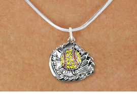 <BR>   WHOLESALE SOFTBALL NECKLACE JEWELRY  <bR>                    EXCLUSIVELY OURS!!  <Br>               AN ALLAN ROBIN DESIGN!!  <BR>      CLICK HERE TO SEE 1000+ EXCITING  <BR>            CHANGES THAT YOU CAN MAKE!  <BR>         LEAD, NICKEL & CADMIUM FREE!!  <BR>   W1713SN2 - ANTIQUED SILVER TONE AND  <BR>YELLOW CRYSTAL SOFTBALL GLOVE AND BALL  <BR>CHARM ON BEAUTIFUL SNAKE CHAIN NECKLACE  <BR>             FROM $5.40 TO $9.85 �2015