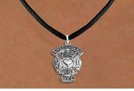 "<BR>  WHOLESALE FIRE DEPT NECKLACE JEWELRY  <bR>                   EXCLUSIVELY OURS!!  <Br>              AN ALLAN ROBIN DESIGN!!  <BR>     CLICK HERE TO SEE 1000+ EXCITING  <BR>           CHANGES THAT YOU CAN MAKE!  <BR>        LEAD, NICKEL & CADMIUM FREE!!  <BR>W1672SN3 - SILVER TONE FIRE DEPT SHIELD <BR>WITH ""FIREFIGHTER'S WIFE"" CHARM ON BLACK <BR>SUEDE NECKLACE FROM $5.90 TO $9.35 �2015"