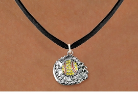 <BR>   WHOLESALE SOFTBALL NECKLACE JEWELRY  <bR>                    EXCLUSIVELY OURS!!  <Br>               AN ALLAN ROBIN DESIGN!!  <BR>      CLICK HERE TO SEE 1000+ EXCITING  <BR>            CHANGES THAT YOU CAN MAKE!  <BR>         LEAD, NICKEL & CADMIUM FREE!!  <BR>   W1713SN3 - ANTIQUED SILVER TONE AND  <BR>YELLOW CRYSTAL SOFTBALL GLOVE AND BALL  <BR> CHARM ON BLACK SUEDE LEATHER NECKLACE  <BR>             FROM $5.40 TO $9.85 �2015