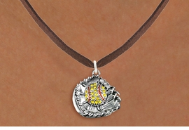 <BR>   WHOLESALE SOFTBALL NECKLACE JEWELRY  <bR>                    EXCLUSIVELY OURS!!  <Br>               AN ALLAN ROBIN DESIGN!!  <BR>      CLICK HERE TO SEE 1000+ EXCITING  <BR>            CHANGES THAT YOU CAN MAKE!  <BR>         LEAD, NICKEL & CADMIUM FREE!!  <BR>   W1713SN4 - ANTIQUED SILVER TONE AND  <BR>YELLOW CRYSTAL SOFTBALL GLOVE AND BALL  <BR> CHARM ON BROWN SUEDE LEATHER NECKLACE  <BR>             FROM $5.40 TO $9.85 �2015