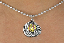 "<BR>   WHOLESALE SOFTBALL NECKLACE JEWELRY  <bR>                    EXCLUSIVELY OURS!!  <Br>               AN ALLAN ROBIN DESIGN!!  <BR>      CLICK HERE TO SEE 1000+ EXCITING  <BR>            CHANGES THAT YOU CAN MAKE!  <BR>         LEAD, NICKEL & CADMIUM FREE!!  <BR>   W1713SN5 - ANTIQUED SILVER TONE AND  <BR>YELLOW CRYSTAL SOFTBALL GLOVE AND BALL  <BR> CHARM ON 18"" LONG BALL CHAIN NECKLACE  <BR>             FROM $5.40 TO $9.85 �2015"